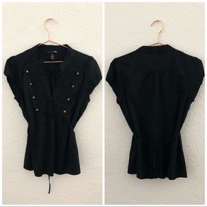 H&M | Black Pleated Button Short Sleeve V Neck Top